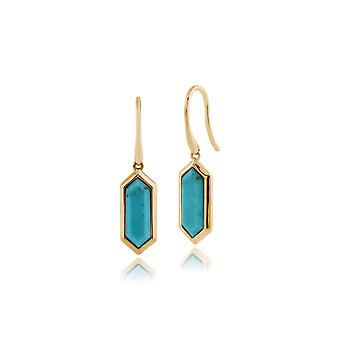 Gemondo 925 Gold Plated Silver 2.60ct Turquoise Hexagonal Prism Drop Earrings