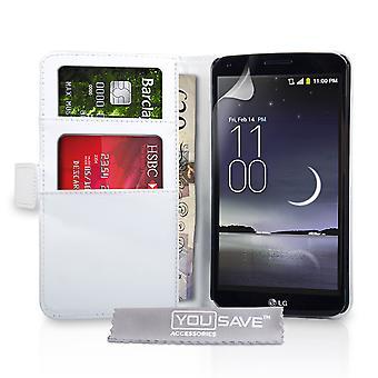 Yousave tilbehør LG G Flex læder-effekt tegnebog sag - hvid