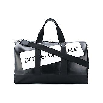 Dolce E Gabbana men's BM1519AN499HNI67 white/black cotton travel bag