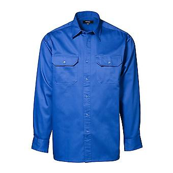 ID Mens Long Sleeve Cotton Loose Fitting Worker Shirt