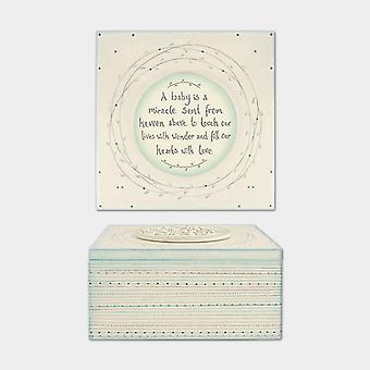 East of India Baby Is A Miracle Striped Box