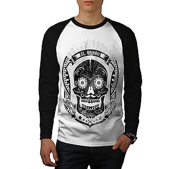 Teschio messicano morte uomini bianco (nero maniche) Baseball LS t-shirt | Wellcoda