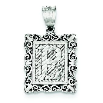 Sterling Silver Solid Square Polished Sparkle-Cut Initial B Charm - 3.0 Grams