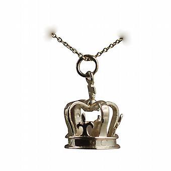 9ct oro 14x20mm corona colgante con un cable de cadena de 16 pulgadas sólo apta para los niños