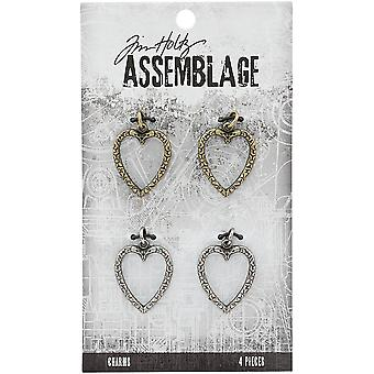Tim Holtz Assemblage Charms 4/Pkg-Heart Links THA20126