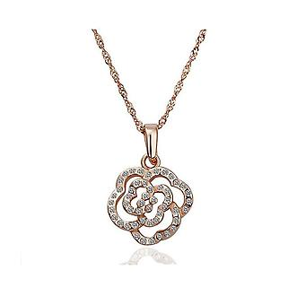 Womens Rose Gold Crystal Flower Pendant Necklace�BG1620