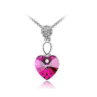 Womens chaud coeur rose collier pierres précieuses chaîne collier pendentif