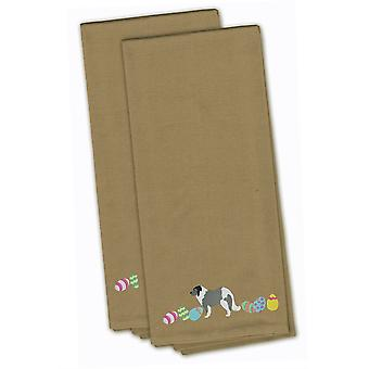 Grey Caucasian Shepherd Easter Tan Embroidered Kitchen Towel Set of 2