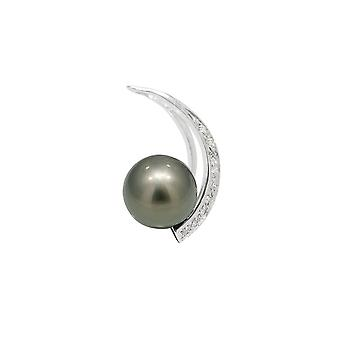 Tahitian Pearl, diamond pendant and Silver 925/1000