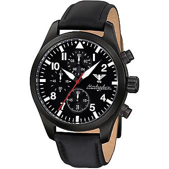 KHS Herrenuhr Airleader black steel chronograph KHS. AIRBSC. L