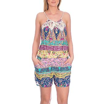 Airisa, Ladies Vibrant Printed Short Romper Playsuit, Yellow, ONE SIZE