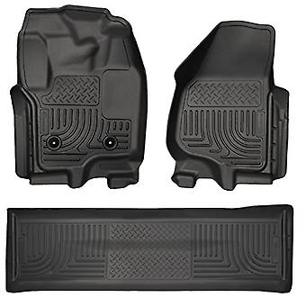 Husky Liners Front & 2nd Seat Floor Liners Fits 12-16 F250 Crew w/ foot rest