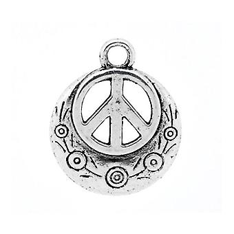 Packet 5 x Antique Silver Tibetan 24mm Peace Sign Charm/Pendant ZX11835