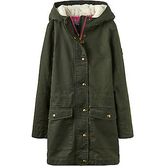 Joules Girls Clover Faux Wax Warm Polar Fleece Parka Jacket Coat