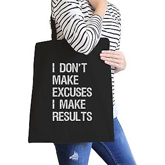 Excuses Results Black Canvas Shoulder Bag Washable Tote For Gym