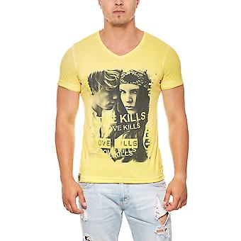 T-Shirt mens print shirt RUSTY NEAL yellow