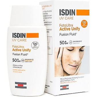 ISDIN solcreme Ultra Active forene farve Fusion Fluid SPF 100 +