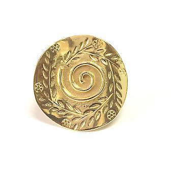 Greek Olive Leaf And Spira Disc Ring In 18k Gold Overlay Sterling Silver