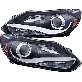 AnzoUSA 121490 Black/Clear/Amber Plank Style Projector Headlight for Ford Focus