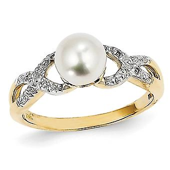 14K Yellow Gold Freshwater Cultured White Pearl Ring with Accent Diamonds