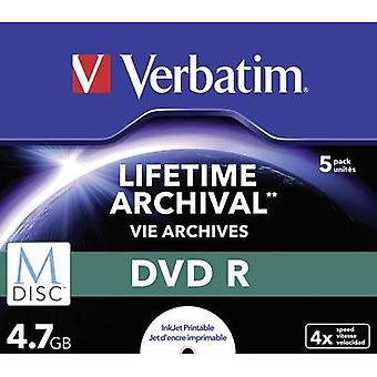Verbatim 43821 Blank M-Disc DVD 4.7 Gb 5 pc(s) Jewel case Printable