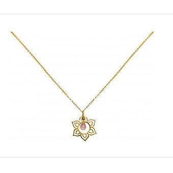 Damer - halskæde - vedhæng - 925 sølv - Guld belagte - lotusblomst - mandala - Rose Quartz - drop - Rosa - YOGA - 45 cm