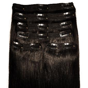 #1B Natural Black - Clip-in Hair Extensions - Full Head - Deluxe