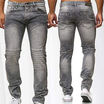 Mens Biker Jeans Pants Panel Stretch Used Look Slim Fit Trousers Stone washed