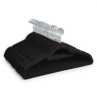 50 Black Non Slip Velvet Hangers With Tie Belt Scarf Holder - Ultra slim design