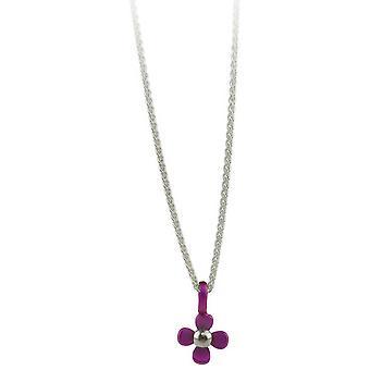 Ti2 Titanium Small Four Petal Flower Pendant - Candy Pink
