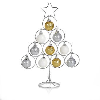TRIXES 30cm Silver Metal Wire Decorative Tree with Baubles Perfect for Desks and Tables