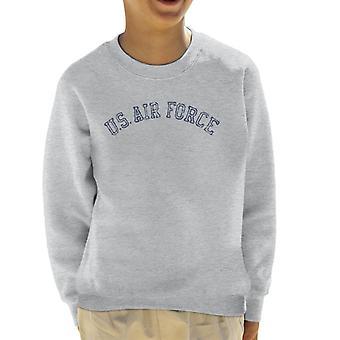 US Airforce Training Navy Blue Text Distressed Kid's Sweatshirt