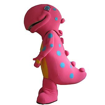 mascot big dinosaur pink and yellow, to blue-spotted SPOTSOUND