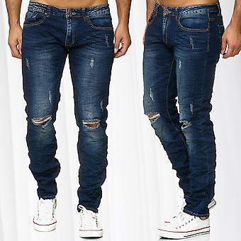 Men's Jeans Pants Destroyed Ripped Stonewashed Contrast Seams Vintage Used Denim