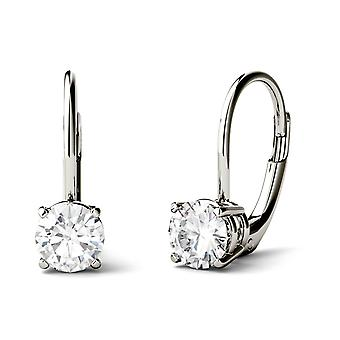 14K White Gold Moissanite by Charles & Colvard Round Leverback Drop Earrings