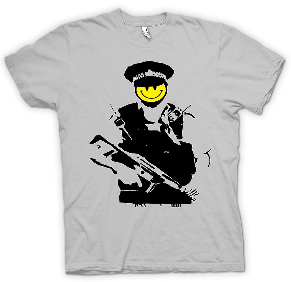 T-shirt des hommes - Banksy - Happy Smiley - Cuivre - Graffiti
