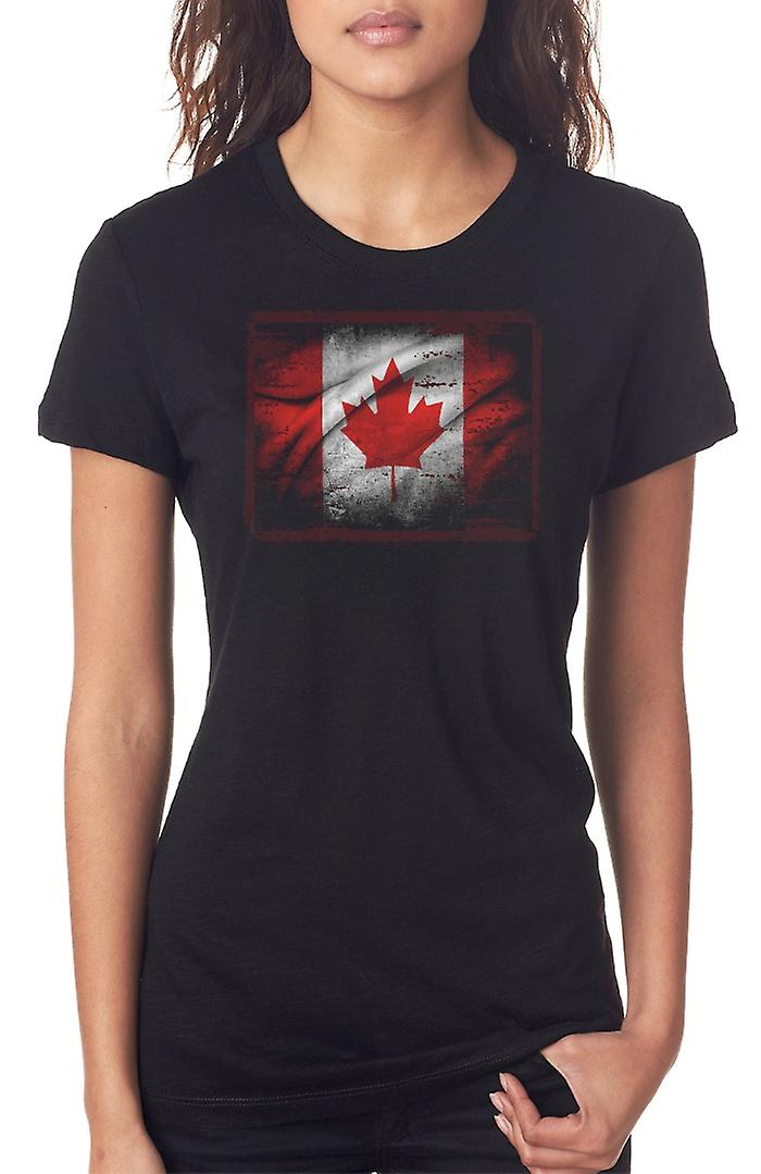 Canadian Canada Grunge Flag Ladies T Shirt