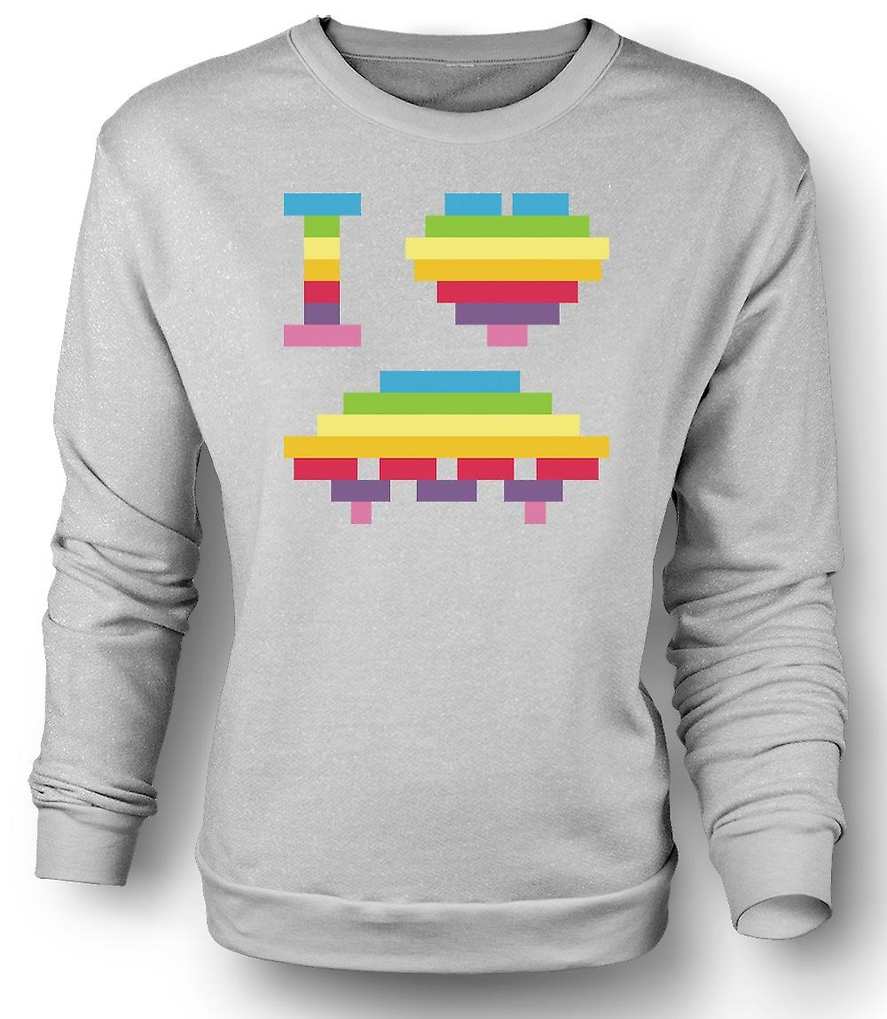 Mens Sweatshirt I Love UFOs - Space Ship - Funny