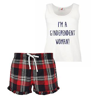 I'm A Gindependant Woman Gin Ladies Tartan Frill Short Pyjama Set Red Blue or Green Blue