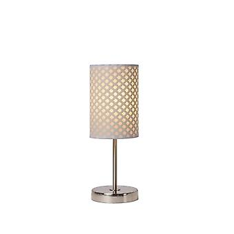 Lucide Moda Cottage Round Metal White And Satin Chrome Table Lamp