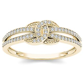 IGI Certified 10k Yellow Gold 0.15 Ct Diamond Love Knot Promise Ring