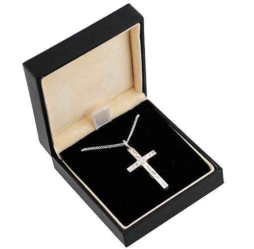 Silver 30x18mmm Victorian engraved block Cross with Curb chain