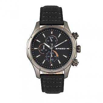 Breed Lacroix Chronograph Leather-Band Watch - Gunmetal/Black