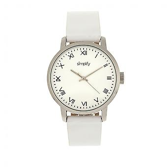 Simplify The 4200 Leather-Band Watch - White