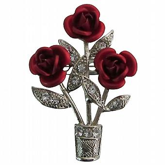 Exotic Stunning Beautiful Red Roses Vase Brooch Unique Stunning Brooch