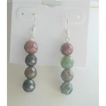 Agate Multifaceted Beads Earrings Sterling Silver 92.5 Earrings