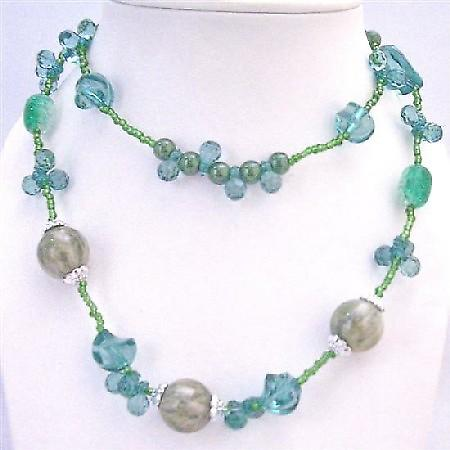 Dainty Sleek Sea Green Long Necklace 34 Inches Double Strand Necklace