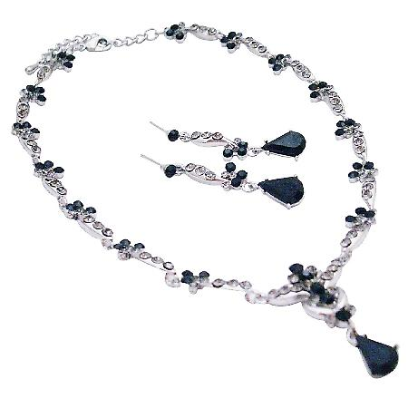 Bridesmaid Bridal Jewelry Necklace Set Wedding Jewelry Jet Crystals