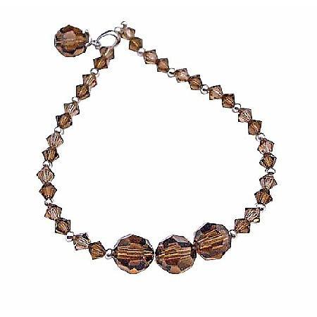 Smoked Topaz Swarovski w/ Dangling Round Bicone Crystals Bracelet