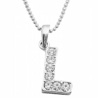 Shimmering Pendant Embedded Cubic Zircon Alaphabet Pendant L Necklace